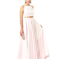 Two piece, full skirt and crop top set Pale Pink Kat - Killer Formal Dresses, Evening Gowns, Prom Dresses, Bridesmaid Dresses   Fame & Partners