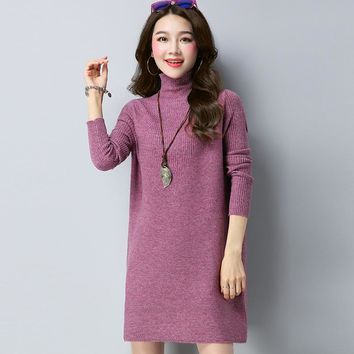 Autumn Winter Stand Collar Jacquard Weave Slim Woolen Sweater Lady Solid Color All Matched Medium Style Jumper Jersey