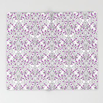 Damask Nature Pink Throw Blanket by Alice Gosling | Society6