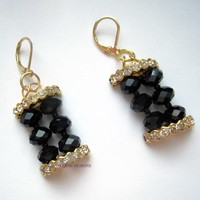 Gold black earrings with crystals fashion statement jewelry on Handmade Artists' Shop