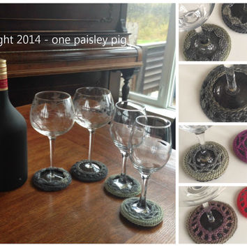 Crochet Wine Glass Coasters (4 Different Designs) - PDF CROCHET PATTERN