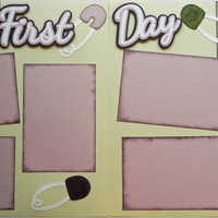 CLEARANCE! Was 14.95 now only 7.47  Handmade Baby's First Day (Girl) Premade  2-Page12 X 12 Scrapbook Page Layout