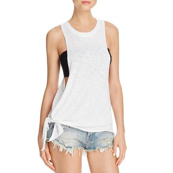 Olivaceous Womens Slub Asymmetrical Tank Top