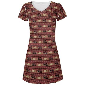 Grizzly Bear Adirondack Pattern Red Juniors V-Neck Beach Cover-Up Dress