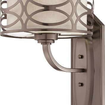 Vanity Light Fixture with Khaki Fabric Shades/Cream Diffuser