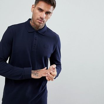 HUGO Long Sleeve Pique Logo Polo Shirt In Navy at asos.com