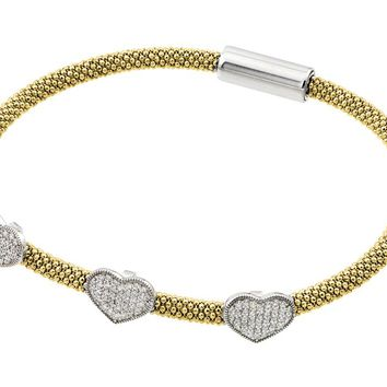 .925 Sterling Silver Rhodium &  Gold Plated Heart Micro Pave Clear Cubic Zirconia Beaded Italian Bracelet