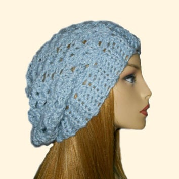 Slouchy Beanie Hat Light Blue Slouch Women Teen Periwinkle Baby Blue Spring Crochet Hat Gift under 25
