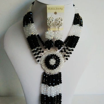 Amazing! Nigerian Wedding African Beads Jewelry Set Black Clear AB Crystal Necklaces Button Stud Earring NC1948
