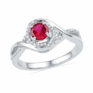 10kt White Gold Women's Round Lab-Created Ruby Solitaire Diamond Twist Ring 3/4 Cttw - FREE Shipping (US/CAN)