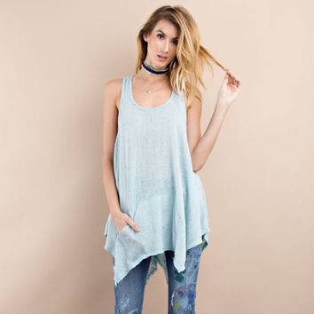 Twisted Back Tunic - Washed Blue