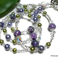 Purple Green Beaded Lanyard Id Necklace Jasper Pearls Crystals Handmade Fashion Jewelry Angel and Strong Breakaway Clasp