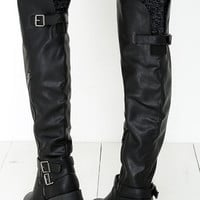 Bike Enthusiast Black Over the Knee Boots