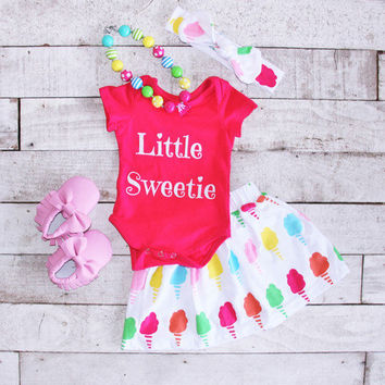 Little Sweetie Outfit, Baby Summer Clothes, Baby Cotton Candy Outfit, Cotton Candy Birthday Outfit, Baby Girl Onesuits, Baby Girl Outfits