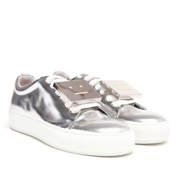 ACNE STUDIOS | Adriana Metallic Smiley Face Trainers | brownsfashion.com | The Finest Edit of Luxury Fashion | Clothes, Shoes, Bags and Accessories for Men & Women