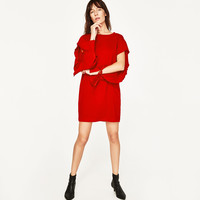 DRESS WITH SLEEVE FRILL DETAILS