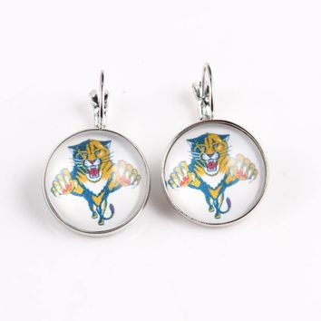 NHL Florida Panthers Carolina Hurricanes Earings Ice Hockey Charms Glass Cabochon French Hook Earrings for Women Jewelry 10pcs