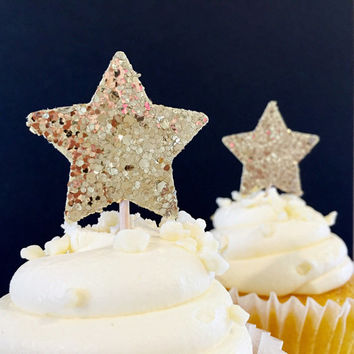 Twinkle Twinkle Little Star - Star Cupcake Topper - Gold Sequin Sparkle Cupcake Toppers - Gold Glitter Party - Set of 12