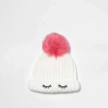 Mini girls white eyelash bobble beanie hat - Baby Girls Accessories - Mini Girls - girls