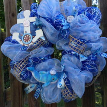 It's a Boy deco mesh wreath, nautical theme with whale and anchor