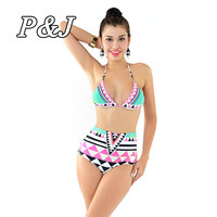 P&j New Sexy Bikinis Women Swimsuit High Waisted Bathing Suits Swim Halter Top Push Up Bikini Set Beach Plus Size Swimwear XL