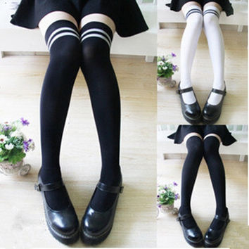 Women Lady Velvet Comfy Stockings Thigh High Over Knee Socks Black White