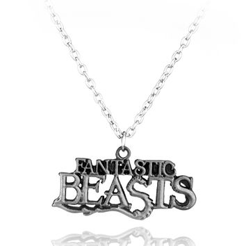 Hot Movie Fantastic Beasts and Where to Find Them Logo Metal Pendant Cosplay Necklace Fashion Necklace for Men Women statement
