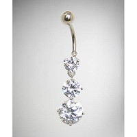 14 Gauge Silver Cz Cascading Dangle Belly Ring - Spencer's