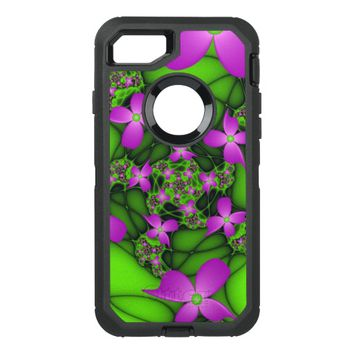 Modern Abstract Neon Pink Green Fractal Flowers OtterBox Defender iPhone 7 Case