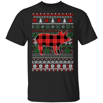 Pig Red Plaid Ugly Christmas Sweater Funny Gifts