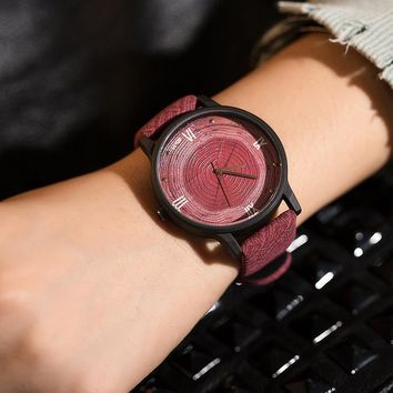 Fashion Wood Face Casual BGG Luxury Brand Women's Watch Wood Retro Vintage Female Clock Leather Quartz Ladie Watch reloj mujer