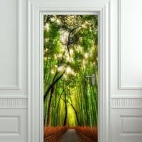 "Wall Door LAMINATED STICKER bamboo, forest, road, way, passageway, poster, mural, decole, film 30x79"" (77x200 Cm)"