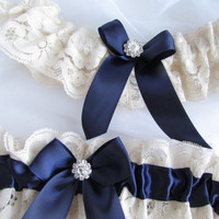 Wedding Garter Set Ivory Lace And Navy Blue Bridal Garter Set With metal Rhinestone Style# GS0068