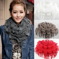 Fashion Women's Winter Warm Knitted Fringe Layered Neck Circle Scarf Tassels