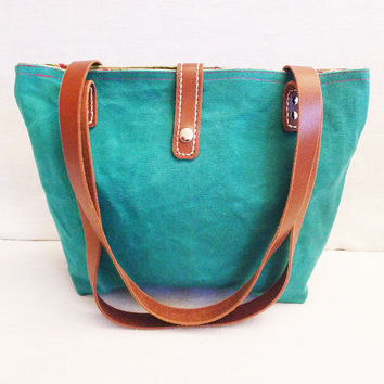 OTTOBAGS Green Canvas Tote  Leather Double Strap by ottobags