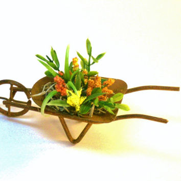 Miniature Wheelbarrow Plants Fairy Garden Dollhouse Flowers