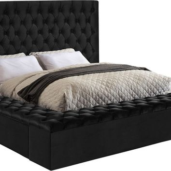 Bliss Deep Tufted Black Velvet Queen Bed