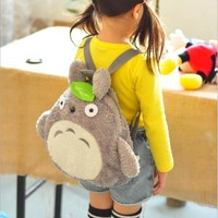 PECKHAMRYE Totoro backpack for kids baby's bags Green Leaf Backpacks Cute School Book Bags Plush Christmas Festival Gift