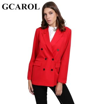 GCAROL New Arrival Spring Women Blazer Double-Breasted Button Notched Collar OL Work Office Suits Outwear