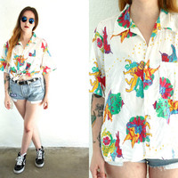 Vintage 80s BUTTON DOWN Unicorn Griffin Mystical Print Shirt Blouse // Short Sleeve White // Hipster Grunge // XS / Small / Medium / Large