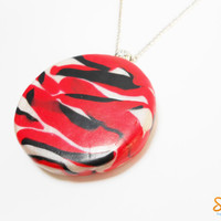 Wild Animals' Texture - Black, red and white - Stripped - Handmade of Polymer Clay - Selsal
