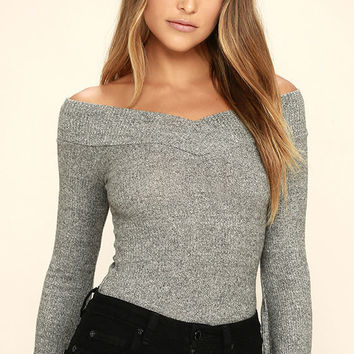 Lucky Star Heather Grey Off-the-Shoulder Top