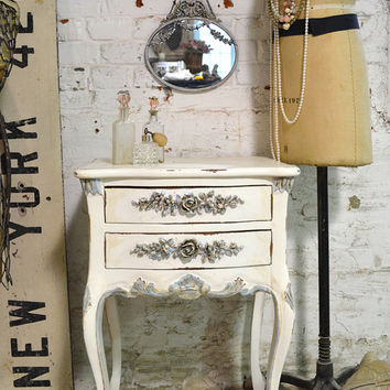 Painted Cottage Chic Shabby Romantic French Night Table NT739