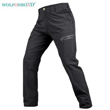 WOLFONROAD Men Pants Waterproof Hiking Trousers Summer Quick Drying Trousers Military Tactical Pants Men Hunting Pants L-PLY-12