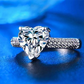 Women Fashion Copper Plated Platinum Bling Crystal Heart Zircon Rings Wedding Rings for Women Size 6 7 8 9 Jewellery