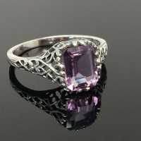 Beautiful Natural Brazilian Amethyst Art Deco Style Ring in Sterling Silver