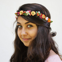 Colorful Orange Daisy Crown - Flower Hair Wreath, Orange Daisies with Pink and White Blossom Hippie Headband. Daisy Crown, Flower Crown