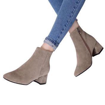 Women's Flock Ankle Boots-Leather Thick Heel, Zipper-BUYFYE Members ONLY