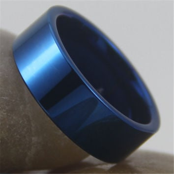 Free Shipping Customs Engraving Ring Hot Sales 8MM Shiny Blue Pipe New Men's Fashion Tungsten Wedding Ring