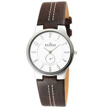 Skagen 433LSL1 Men's Denmark Slimline White Dial Brown Leather Strap Quartz Watch